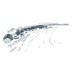 sketch landscape line skyline art vector image