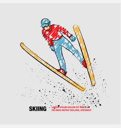 Ski jumping athlete in fly position vector