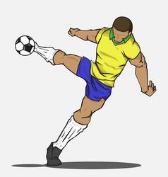 soccer player kicking the ball vector image