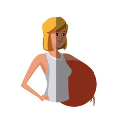 Sport girl fitball physical work vector