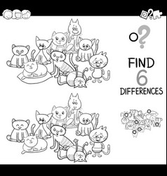 Spot difference with cats coloring book vector