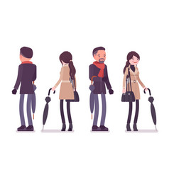 Stylish man and woman in autumn clothes with vector