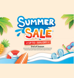 Summer sale with paper cut symbol and icon for vector