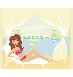 Summer sexy beach girl vector