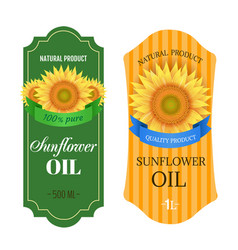 sunflowers oil labels isolated white background vector image