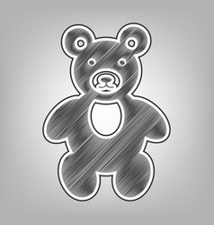 teddy bear sign pencil vector image