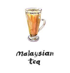 Teh tarik the famous malaysian tea vector
