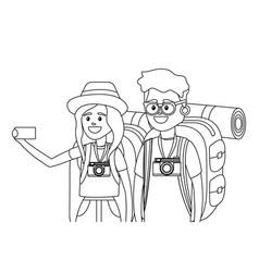tourist couple cartoon vector image
