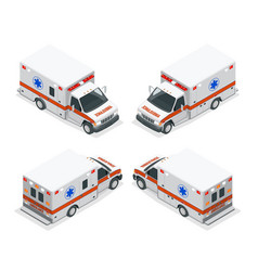 transport isometric set ambulance van isolated vector image