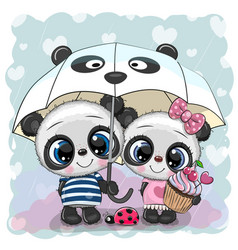 two cartoon pandas with umbrella under rain vector image