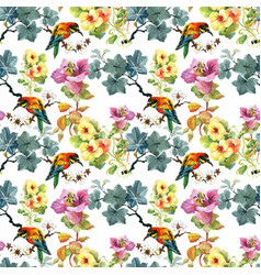 Watercolor hand drawn seamless pattern with vector