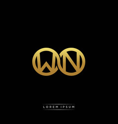 Wn initial letter linked circle capital monogram vector