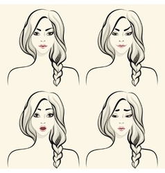 Woman facial emotions set vector