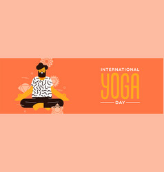 yoga day banner man in lotus pose exercise vector image