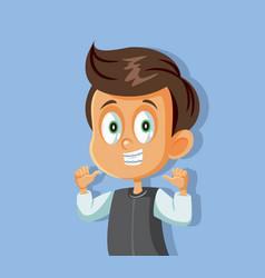 Young cartoon boy smiling wearing braces vector