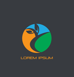 circle leaf eco business logo vector image vector image