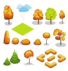 Isometric autumn tree set Landscape vector image vector image