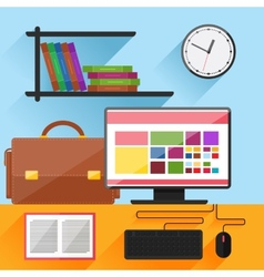 Modern home office interior with computer on desk vector image