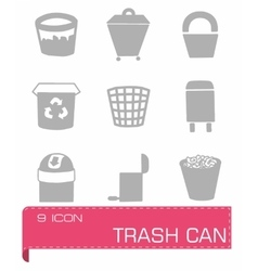 Trash can icon set vector image
