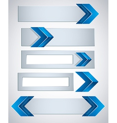 3d banners finished with blue arrows vector image