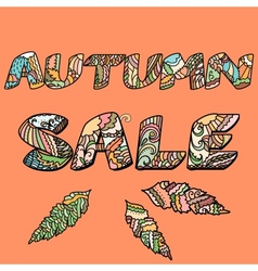 Autumn sale words with hand drawn elements vector image vector image