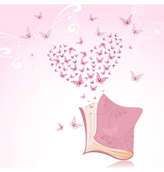 book with pink butterflies vector image