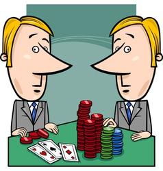 businessmen playing poker cartoon vector image vector image