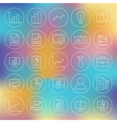 Line Circle Finance Business Office Icons Set vector image vector image