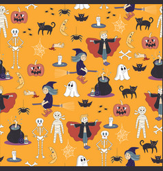 seamless halloween ghost pattern background cute d vector image vector image