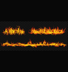 Long horizontal fire flame vector