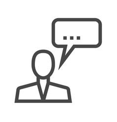 man talking thin line icon vector image vector image