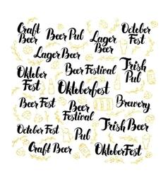 October beer fest lettering design set vector
