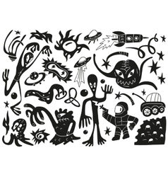 Space invaders aliens - doodles set part 1 vector image vector image