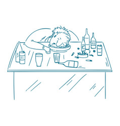a drunk man sitting fall asleep on the table with vector image