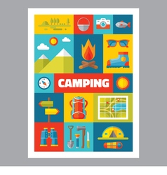Camping - mosaic poster with icons in flat design vector image