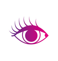 color silhouette vision eye with eyelashes style vector image vector image