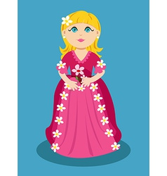Little cartoon princess with flowers vector image vector image