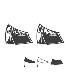 monochrome emblem of a tent with a flag logo for vector image