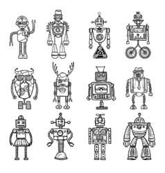 Robots doodle stile black icons set vector