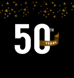 50 years anniversary number with gold ribbon vector