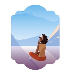 Afro woman contemplating horizon in snowscape vector