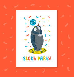 animal party lazy sloth party couple of sloths vector image