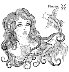 Astrological sign pisces as a beautiful girl vector