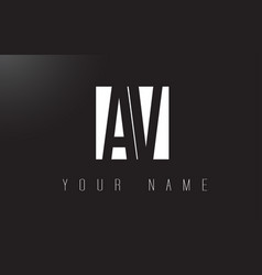 av letter logo with black and white negative vector image