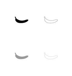 Banana black and grey set icon vector