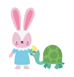 Bashower cute little female rabbit and turtle vector
