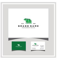 Bear tech logo design and business card vector