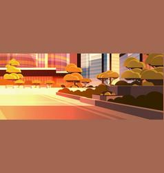 beautiful city street sunset skyline high vector image