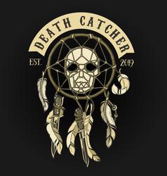 Biker skull death catcher logo vector