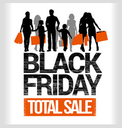 black friday people shopping detailed silhouettes vector image